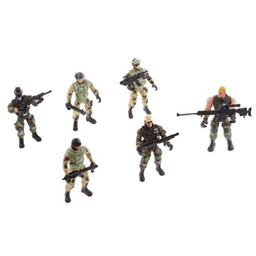 MagiDeal 6 Polizei Männlichen Soldaten Action Figuren Sammlung Mit Spielzeug Waffen
