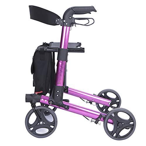 DMZH Superlight Aluminiumlegierung Gehwagen Gehhilfe 4 Räder Abnehmbar Gehwagen Krücken Alternative Mobilitätshilfe zum Erwachsene, Senior, Ältere Menschen & Behinderung Transport Stuhl,Pink