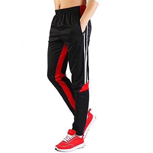 Shinestone Herren Skinny Sportswear Fußball Trainingshose, Fitness-Pants, schwarz/rot, S - Jungen, Die Basketball Spielen