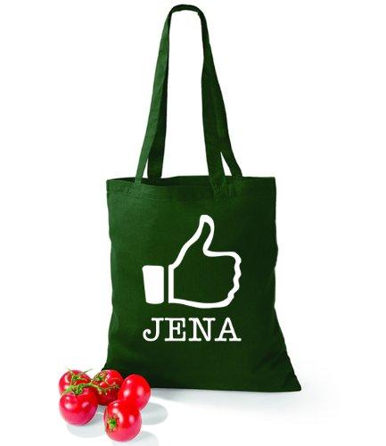 Artdiktat Baumwolltasche I like Jena Bottle Green
