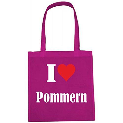 Tasche I Love Pommern Größe 38x42 Farbe Pink Druck Weiss -