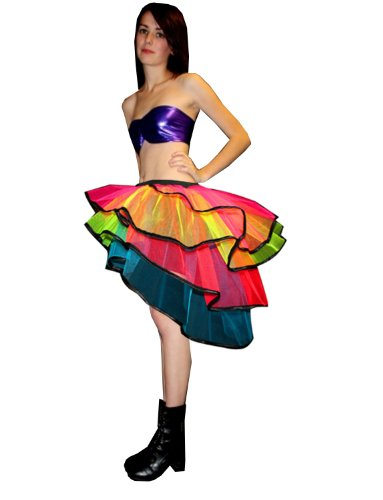 Insanity Neon UV Rainbow Bustle Tutu Skirt (Plus Size (16 to (Tutus Size Plus)