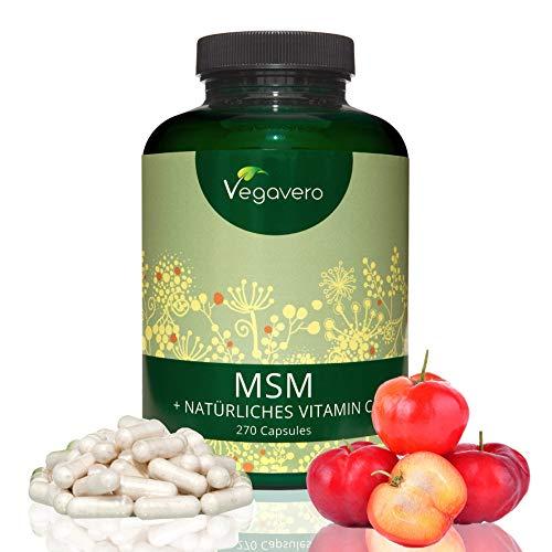 MSM Vitamin C Kapseln Vegavero – mit natürlichem VITAMIN C | HÖCHSTE Dosierung mit 2.100mg MSM | LABORGEPRÜFT | 99,9% reines MSM | 270 Kapseln | Vegan und OHNE Zusatzstoffe