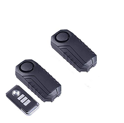 ECTECH Fahrzeug Diebstahlsicherung Alarm, Kabellos Einbruchssicherungs-Vibrationsalarm für Fahrrad Motorrad Auto Türfenster, 113db Laut, 1 Fernbedienung und 2 Alarme