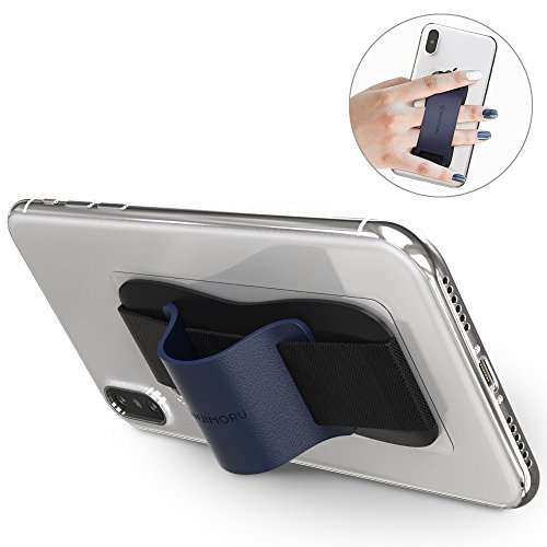 Sinjimoru Fingerhalter Handy. Bequeme Smartphone Fingerhalterung, die Auch als Stabiler Handy Ständer Verwendet Werden Kann. Handy Halter für Alle Handys. Sinji Grip, Navy.