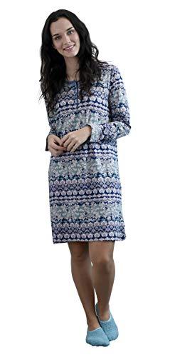 NORMANN WÄSCHEFABRIK Damen Nachthemd Langarm mit Knopfleiste - Sleepshirt im floralen Print - 291 213 90 419, Farbe:blau, Größe2:40/42 (Florale Langarm-sleepshirt)