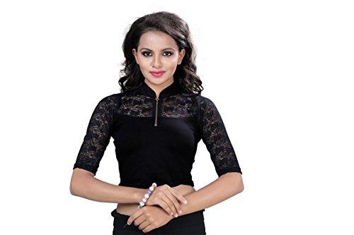 Fressia Fabrics Women's Cotton Saree Blouse (101 HALTER FS BLACK_Black_Free Size)