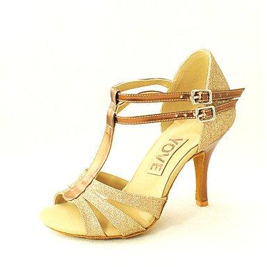 Silence @ Chaussures de danse pour femme en similicuir en similicuir Latin/Salsa Sandales Talon Practise/débutant/Indoorblack/bleu/ Red
