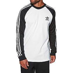adidas Herren 3-Stripes Longsleeve, White/Black, M