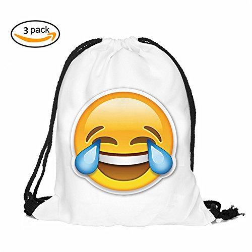 insfire Emoji-Kordelzug Rucksack Taschen, Upgrade Wasserdicht Kinder Kordelzug Taschen Goody Staubbeutel Pack, süßer sortiert Emoticon Party Supplies Stuff Gastgeschenken für Kinder Teens Mädchen Jungen Geschenk, HZB140 (Upgrade-lösung)