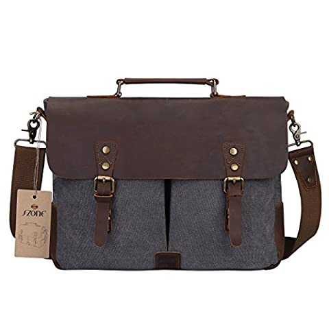 S-ZONE Canvas Genuine Leather Trim Travel Briefcase Laptop Messenger Bag Fits 17 inch Macbook Pro or other 15.6 inch Laptop