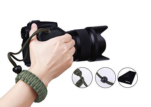 Handgelenkschlaufe für Kamera, PROWITHLIN Paracord Kameraschlaufe Trageschlaufe für Kamera DSLR SLR (Canon NIikon Sony Pentax etc) (Grün)