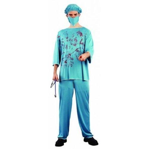 Erwachsenen Halloween-Kostüm, Doctor Death, Blutiger Chirurg, OP-Kittel
