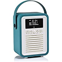 VQ Retro Mini DAB & DAB+ Digital Radio with FM, Bluetooth & Alarm Clock – Teal