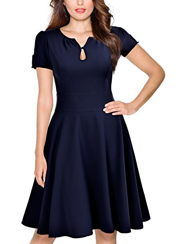 Miusol Damen Abendkleid kurzarm elegant Vintage Rockabilly Kleid Sommer Cocktailkleid Blau Gr.M