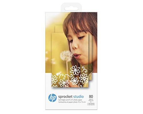 HP Sprocket Studio Fotopapier und Patronen (80 Blatt 10 x 15 cm Papier + 2 Druckerpatronen, für HP Sprocket Studio)