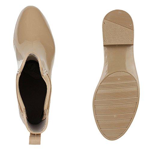 Stiefeletten Damen Chelsea Damenschuhe Lack Boots Muster vN80mnw