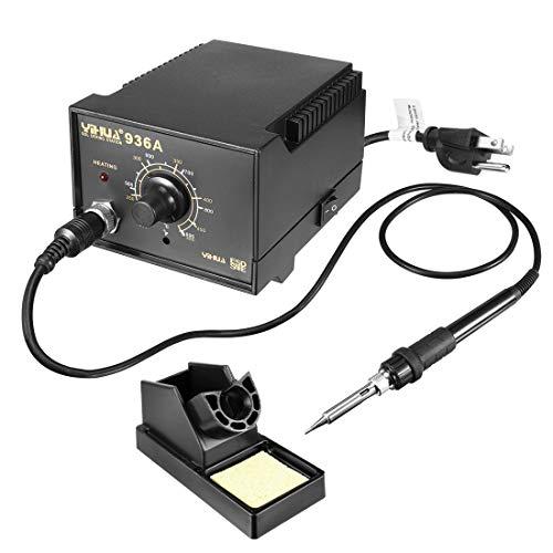 ZCHXD Model 936A US Plug 60W Soldering Iron Station Kit with Auto Cool Down Function, Ergonomic Soldering Iron, Solder Holder, Soldering Tips, and Tweezer (Netzkabel Reparieren)