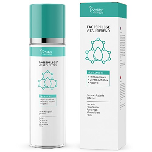 Vitalisierende Tagespflege mit Arganöl und Hyaluronsäure - feuchtigkeitsspendende Tagescreme für Gesicht, Hals und Dekolleté - 120 ml...