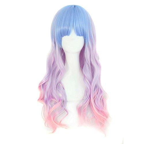 MapofBeauty 70cm/ 28 Pouce Longue Bouclé Femmes Bouclé Perruques (Léger Bleu/Léger Violet/Rose)