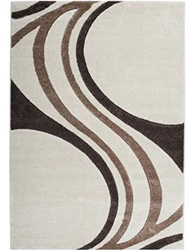 Keymura GmbH Designer Teppich mit Konturen-Schnitt Modernes Wellen Muster Prada 8006 Farbe BRAUN - 80X300