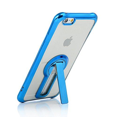 MAXFE.CO TPU Silikon Hülle für iPhone 6 6S Handyhülle Schale Etui Protective Case Cover Rück mit Ultra slim Skin TPU bruchsicher Kissen 360 Grad drehbaren Ständer Design Skin Farbe Rosé-gold Blau
