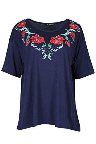 Oops Outlet Damen Rundhals Geblümt Bestickt Rose Bedruckt Kurzärmlig Übergroßer Baggy-stil T-shirt Top Marine