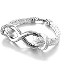 MunkiMix Acero Inoxidable Cuero Pulsera Brazalete Brazalete Cable Cuerda Blanco White Plata Infinito Infinity Amor Love Símbolo 8 Biker Mujer