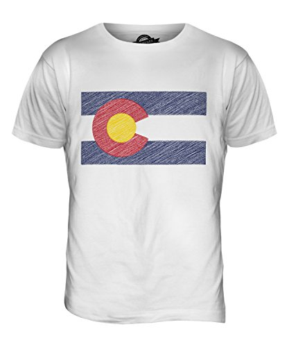 CandyMix Bundesstaat Colorado Kritzelte Flagge Herren T Shirt Weiß