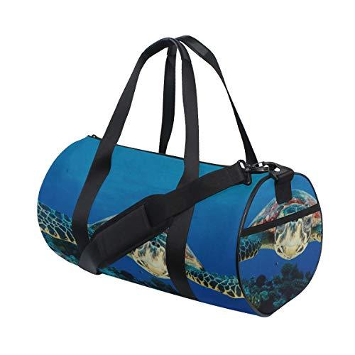 Flexible Turtle In Blue Ocean Benutzerdefinierte Multi Leichte Große Yoga Gym Totes Handtasche Reise Canvas Duffel Taschen Mit Schulter Crossbody Fitness Sport Gepäck Für Jungen Mädchen Mens Womens