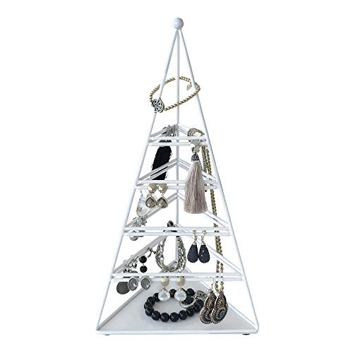 Schmuckständer Ohrringe Pyramida 34cm - Armband - Kettenständer Aufbewahrung Galeara Design - Schmuck Aufbewahrungssystem (Weiß)