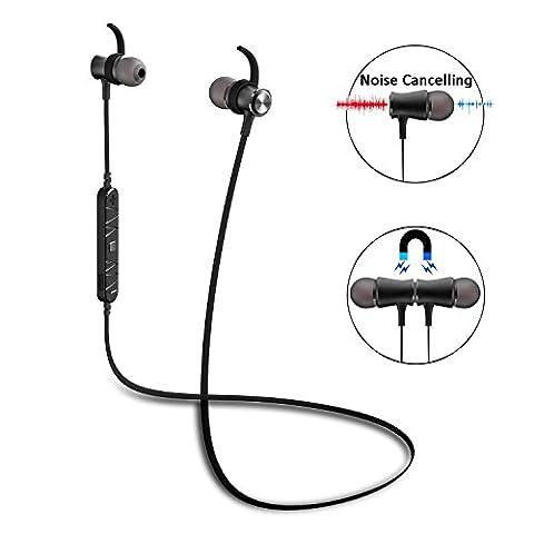 Ecouteur Bluetooth 4.1 RIVERSONG® RAINDROP A01 casque sans fil Oreillette Intra-Auriculaires stéréo de Sport avec Micro et Isolation du bruit pour Apple Iphone , Android et autres Appareils Bluetooth (Noir)