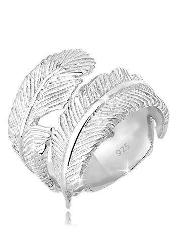 Elli Damen Wickelring mit Feder Trendsymbol im Boho Trend in 925 Sterling Silber