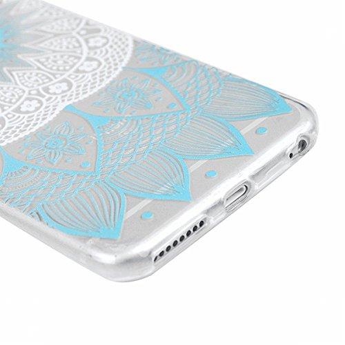 HB-Int 3 in 1 Custodia per Apple iPhone 7 (4.7 pollici) Trasparente Case Bella Pattern Chiaro Shell Custodia Flessibile TPU Gel Caso Ultra Sottile Leggera Copertura Anti Graffi Silicone Soft Cover + P Fiori Blu