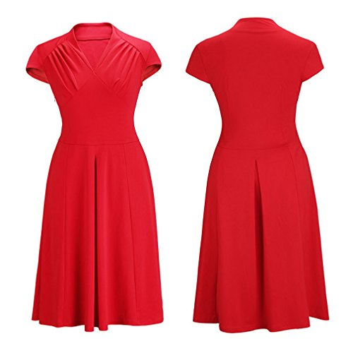 Smile YKK klassisches Design Damen Kurze Aermel Skaterkleid Cocktailkleid Party Kleid M Rot -