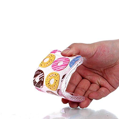 iPhone 6 / 6S Hülle (4,7 Zoll), Sunroyal® Weiche TPU Rahmen mit PC Rückdeckel Schutzhülle Bumper Case Hülle ,Ultra Slim Semitransparent Hybrid Bling Glitter Gel Silikon Zurück Buntes Muster Kratzfest  Donuts