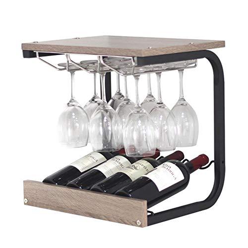 Weinregale Mit Glashalter Freistehender Weinregalschrank Küche, Metall Holz (Farbe: Nussbaum)