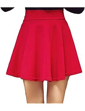 Kemosen Faldas Para Mujer Verano Elástica Plisada Básica Patinador Color puro Multifuncional Casual Corto Falda