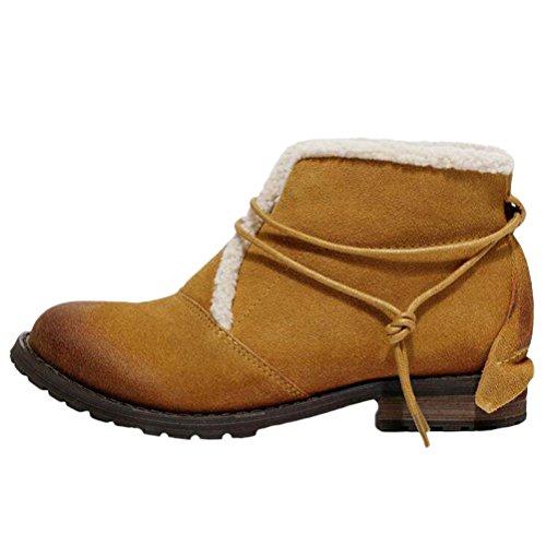 MatchLife Damen Leder Martin Boots Schuhe Style1-Gelb Braun-Fleece