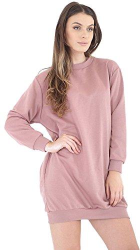 Ladies Oversize Long Pull Sweatshirt Tunique Robe EUR Taille 36-42 Rose poussiéreux