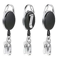 Vicloon Badge Reel,3 Pcs Reel Clips Retractable Badge Holder with Key Belt Reel for Key Ring ID Card Badge Holder