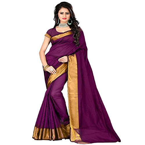 b24ad4a62648c2 V.CLOTHY Women Cotton Silk Saree With Blouse Piece (D M  Sarees New  Collection Magenta Free Size
