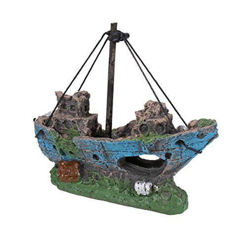 UEETEK Aquarium Dekoration Schiff, Corsair Schiff Versunkene Boot Segelschiff für Aquarium Dekoration,ideal für kleine Garnele Fisch Schildkröte