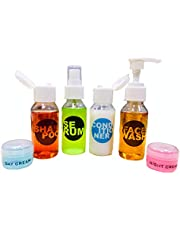 SPC Plastic Multipurpose Cosmetic Toiletries Travel Bottle Kit with 4 Empty Refillable Bottles(White, 50ml)