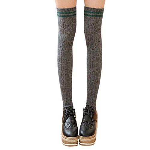 Lange Overknee Strümpfe FORH Damen Gestrickt über Knie lange Stiefel Oberschenkel warme Socken Leggings Thigh High College Knie Socken Stricken Sport Socken Stocking Pantyhose (Dunkel grau)