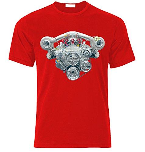 V8 HEMI TWIN TURBO ENGINE CAMARO MUSTANG CHALLENGER SHELBY GT T-shirt size S-XXL Rot