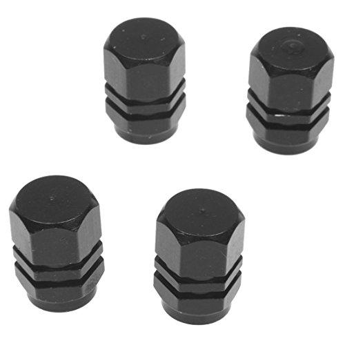 SODIAL(R) Set di 4 tappi valvole Alu per pneumatici di biciclette, moto, auto - Nero
