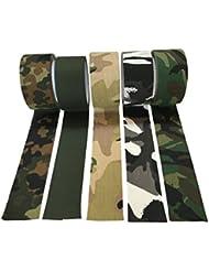 Cinta camuflaje militar 10 metros de banda óptica Tarn verde ADHESIVO - resistente a la rotura - Resistente al agua - AISLAMIENTO - NO REFLEJA para, caso de fotos al aire libre, camuflaje, el geocaching, caza, bosque, refugio - 50 mm de ancho - patrón seleccionable (Black/White)