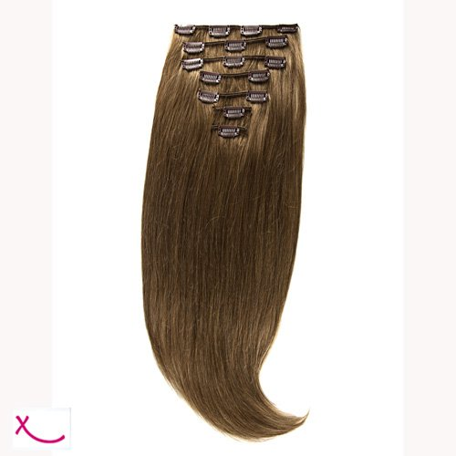 Extiff - Extension cheveux naturel clip lisse - 50cm 100gr - qualité Rémy Hair (8 - Blond Cendré) - 7 bandes au total 15 clips