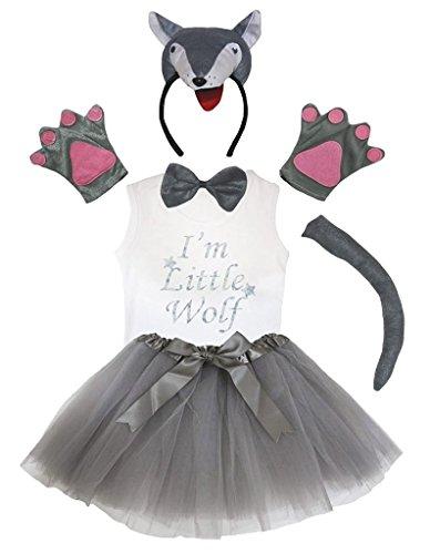 Petitebelle 3D-Stirnband Bowtie Schwanz Handschuhe Hemd Rock 6pc Mädchen-Kostüm 3-4 Jahre 3d Grauer Wolf